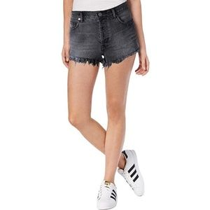 FREE PROPLE high waisted distressed Jean shorts